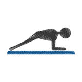Silhouette guy exercising fitness sport Royalty Free Stock Images