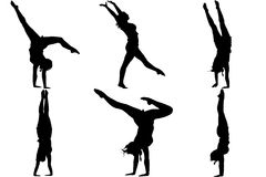 Silhouette gymnast dancer Royalty Free Stock Photo