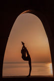 Silhouette of gymnast Royalty Free Stock Image
