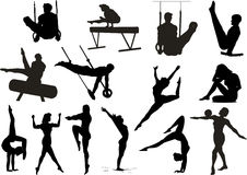 Silhouette gymnastic sportsmens Royalty Free Stock Photo