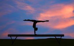 Silhouette gymnastique Photographie stock libre de droits