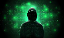 Silhouette of a hacker in a hood, against a background of glowing green binary code, hacking of a computer system, data theft. Network attack stock illustration