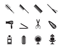 Silhouette Hairdressing, Coiffure And Make-up Icons Royalty Free Stock Photos