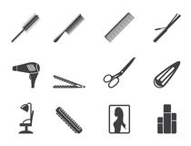 Silhouette hairdressing, coiffure and make-up icons Stock Photography