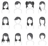 Silhouette hairstyle icon collection set 2 Stock Images