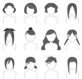 Silhouette hairstyle icon collection set 3 Royalty Free Stock Photo