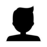 Silhouette half body boy monochrome pompadour