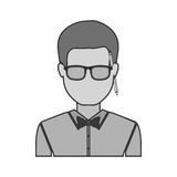 Silhouette half body man with bowtie in shirt and glasses Royalty Free Stock Photos