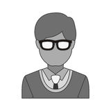 Silhouette half body man with formal suit and glasses Royalty Free Stock Photo