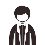 Silhouette half body man suit with bowtie. Vector illustration Stock Image