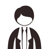 Silhouette half body man suit with tie. Vector illustration Stock Images
