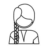 Silhouette half body woman with braid Stock Image