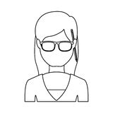Silhouette half body woman with glasses and jacket Stock Photos