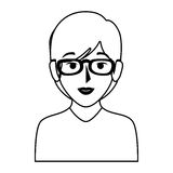 Silhouette of half body woman with short hair and glasses Stock Photo