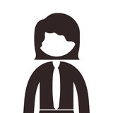 Silhouette half body woman with short hair and tie Stock Image