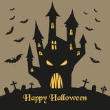 Silhouette of Halloween castle and bats. stock illustration