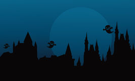 Silhouette of halloween castle and ghost. At the night Stock Photos