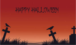 Silhouette of Halloween crow and tomb Stock Image