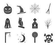 Silhouette halloween icon pack  with bat, pumpkin, witch, ghost, hat Stock Photos