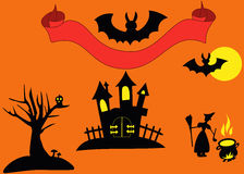 Silhouette for Halloween objects on the orange background Royalty Free Stock Photography