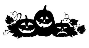Silhouette of halloween pumpkins Stock Photo