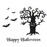 Silhouette of Halloween tree and bats. royalty free illustration