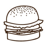 Silhouette of hamburger food icon Stock Photography