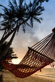 Silhouette hammock on the beach Royalty Free Stock Images