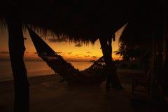 Silhouette of hammock Royalty Free Stock Photos
