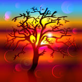 Silhouette of hand drawn tree on a background of bright colorful sunset Royalty Free Stock Photography
