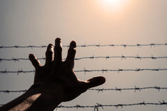 Silhouette hand extending to the sky with barbwire and sunlight, vintage tone Royalty Free Stock Images