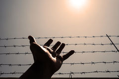 Silhouette hand extending to the sky with barbwire and sunlight, vintage tone Stock Photo