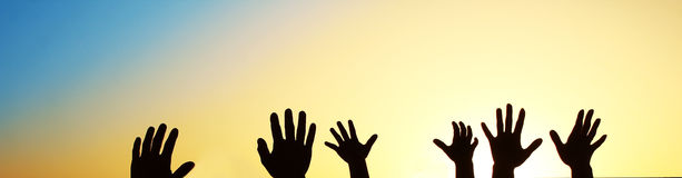 Silhouette of the hand of the family Stock Photo