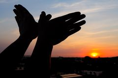 silhouette of a hand gesture like bird Stock Images