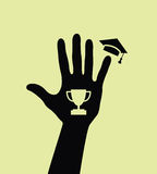 Silhouette of a hand with goblet and mortarboard Royalty Free Stock Photo