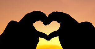 Silhouette Hand Heart Royalty Free Stock Photos