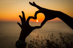 Silhouette hand heart shape. Heart hand shape with sunset background Stock Image