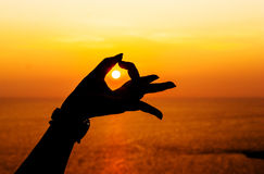 Silhouette, Hand and sunset Royalty Free Stock Images