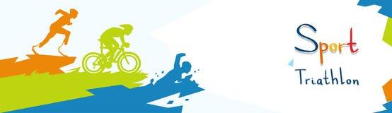 Silhouette handicapée de compétition sportive de marathon de triathlon d'athlètes Photos libres de droits