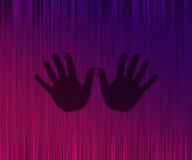 Silhouette of hands on a curtain Royalty Free Stock Photography