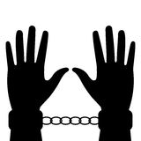 Silhouette of hands in handcuffs Royalty Free Stock Photos