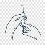 Silhouette hands of a nurse medical. Hands of a nurse in medical gloves press syringe ready to inject shot  illustration. Vaccination or medical injection image Stock Photography