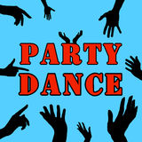 Silhouette of hands on a party. Billet for design. Flyers, business cards, flyers. Royalty Free Stock Images