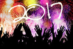 Silhouette hands people in the end year party Royalty Free Stock Images