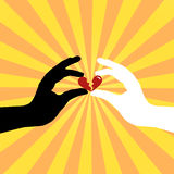 Silhouette of hands saving love Stock Images