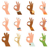 Silhouette hands showing symbol of all ok finger thumb vector illustration. Ok hands success gesture and ok hands yes agreement. Ok hands signal business human stock illustration
