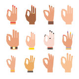Silhouette hands showing symbol of all ok finger thumb vector illustration. Ok hands success gesture and ok hands yes agreement. Ok hands signal business human royalty free illustration