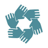 Silhouette hands teamwork icon design Stock Images