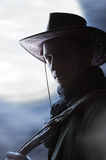 Silhouette of  Handsome cowboy Stock Image