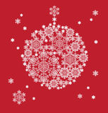 Silhouette of hanging ball formed by snowflakes Royalty Free Stock Image